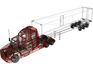 Kenworth T600 with Trailer 3D Model