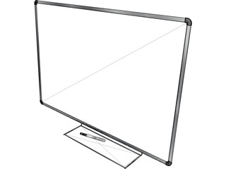 Whiteboard with Pen 3D Model