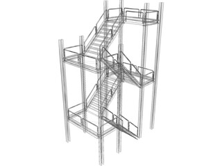 Two-level Stairs 3D Model