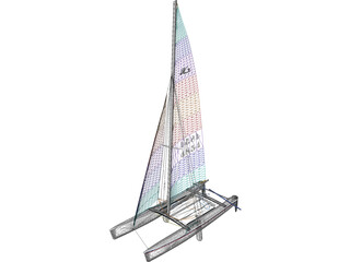 Hobie 18 Racing Catamaran 3D Model