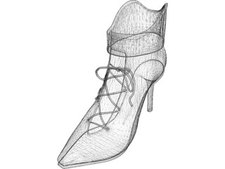 High Heel Shoe with Lace 3D Model