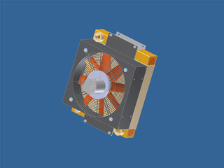 Hydraulic Oil Cooler 3D Model