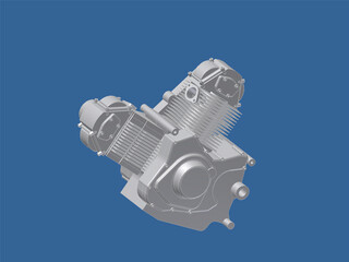 Engine Ducati 900ss Motorcycle 3D Model