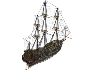 Galleon Early Spanish 3D Model