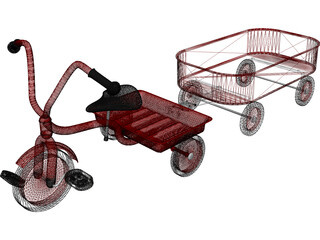 Tricycle and Wagon Red Classic 3D Model