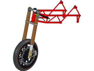 Motorcycle Frame, Wheel and Fork 3D Model