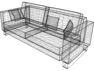 Sofa with Pillows 3D Model