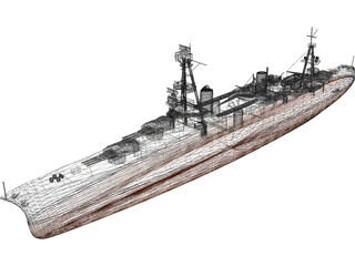 USS Chicago (CA-29) Northampton class Heavy Cruiser 3D Model