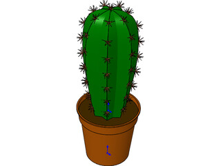 Cactus in Container 3D Model