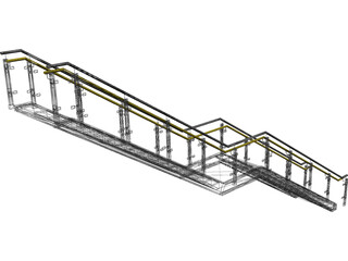 Stair with Glass Rail 3D Model