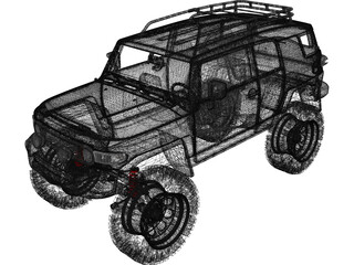 Toyota FJ Cruiser (2013) (Lifted) 3D Model
