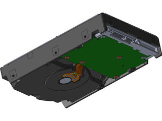 Hitachi 3.5 Inch SATA HDD 3D Model