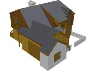 House Two Story Traditional 3D Model