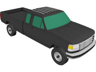 Ford F350 Pickup Extended Cab (1993) 3D Model