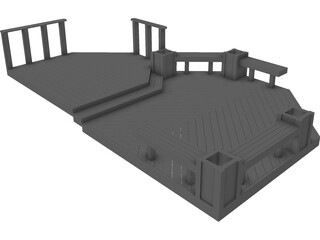 Custom Wood Deck 3D Model