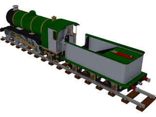 LBSC Ayesha II Steam Train 3D Model