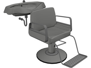 Hair Salon Washing Chair 3D Model
