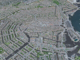 Amsterdam City, Netherlands (2019) 3D Model