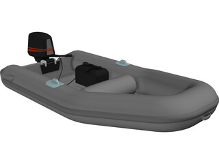 Inflatable Boat with Outboard Motor 3D Model