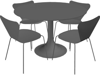 Table and Jacobsen Chairs 3D Model