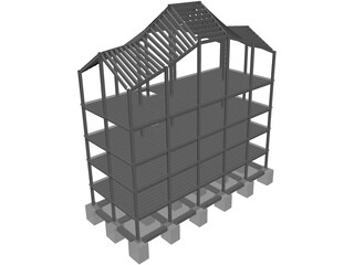 Four Level Building with Complex Roof 3D Model