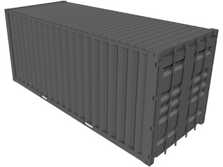 Shipping Container 20x08x08ft Movable Doors 3D Model