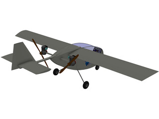 Manticore Single Seat Twin Pusher Aeroplane 3D Model
