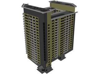 Inhabited high-rise building 3D Model