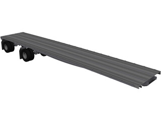 Semi Flat Bed Trailer 45 Foot 3D Model