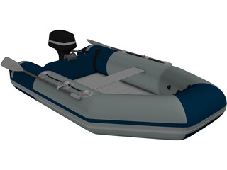 Zodimo Zodiac Boat with Outboard Motor 3D Model