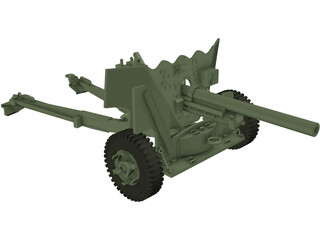 6 Pounder Anti-Tank Gun 3D Model