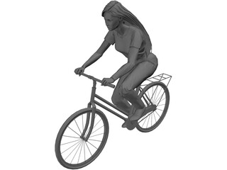 Woman on Bike 3D Model