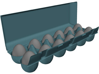 Dozen Eggs Carton 3D Model