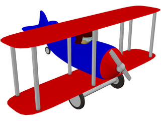 Cartoon Toy Airplane 3D Model