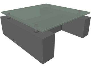 Coffee Table with Glass 3D Model