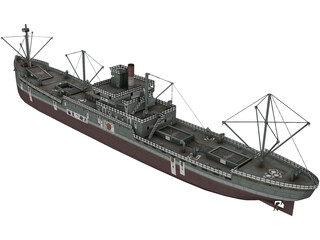 Japanese Merchant Ship 3D Model