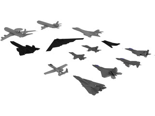 Airplanes Set 3D Model