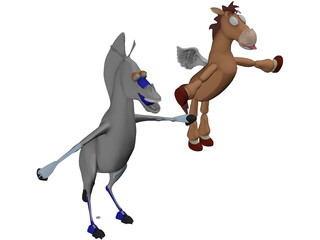 Animated Cartoon Horse 3D Model