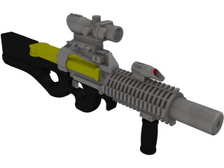 P-90 Machine Gun 3D Model