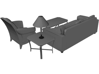 Classic Living Room Set 3D Model