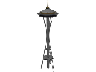 Seattle Space Needle Tower 3D Model