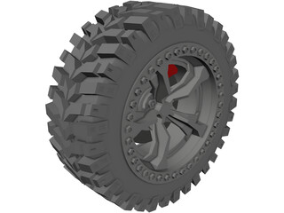 Offroad Tire/Wheel 3D Model