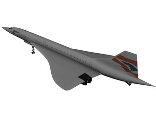 Concorde British Airways 3D Model