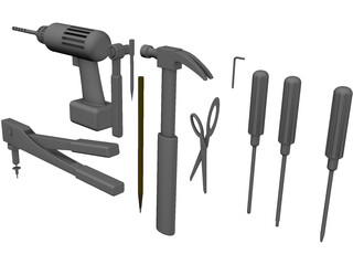 Hand Tools Collection 3D Model