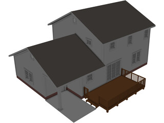 Colonial Style House 3D Model