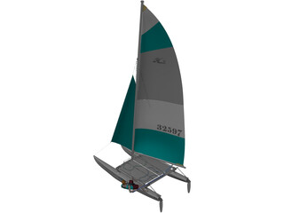 Hobie 16 Racing Catamaran with Male Sailor 3D Model