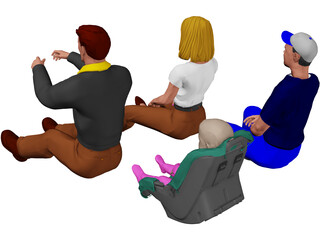 Family in Car 3D Model