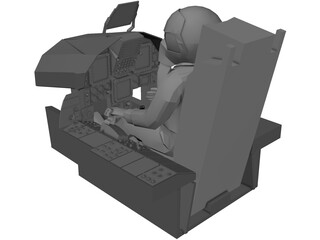 F-15 Cockpit with Pilot and Seat 3D Model