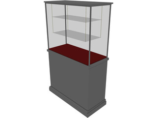 Glass Vitrine with Wooden Base 3D Model