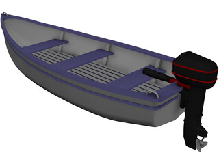 Boat with Outdoor Motor 3D Model
